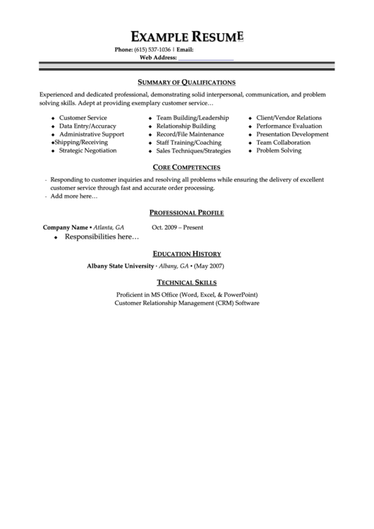 Example Resume Printable pdf