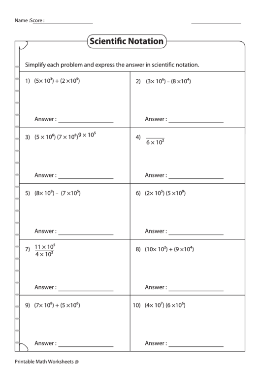 Expressing Numbers In Scientific Notation Worksheet With ...