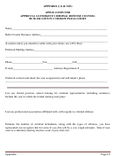 Appendix J - Application For Approval As Indigent Criminal Defense Counsel Butler County Common Pleas Court