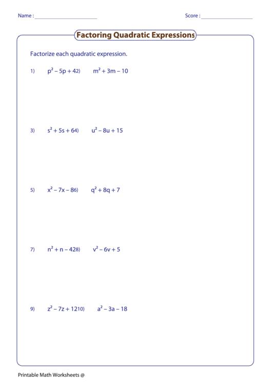 Factoring Quadratic Expressions Worksheet Printable Pdf Download