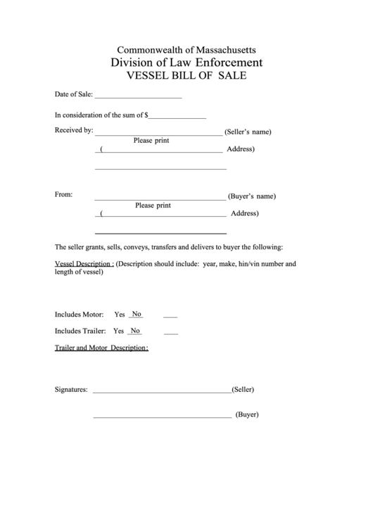 fillable vessel bill of sale printable pdf download