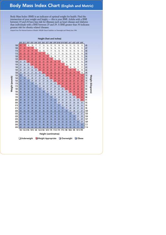 Body Mass Index Chart (English And Metric) Printable pdf