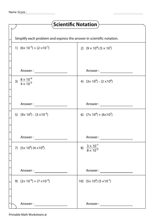 Simplifying Expressions In Scientific Notation Worksheet ...