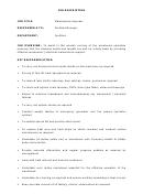 Maintenance Engineer Job Description