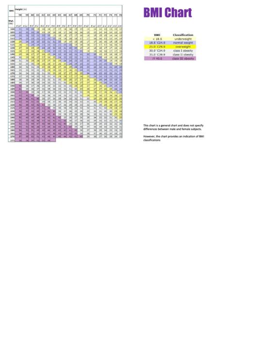 Bmi Chart Template Printable pdf