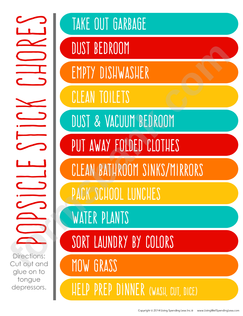 Popsicle Stick Household Chore List