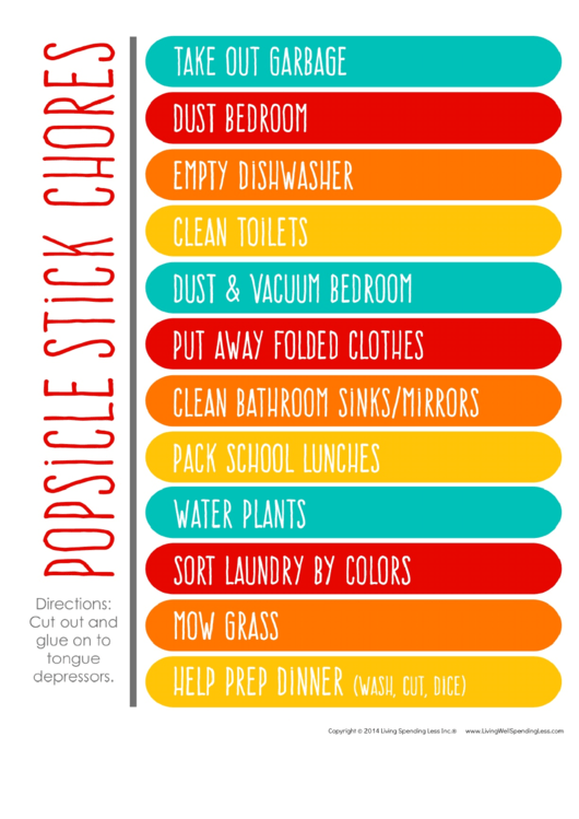 Popsicle Stick Household Chore List Printable pdf