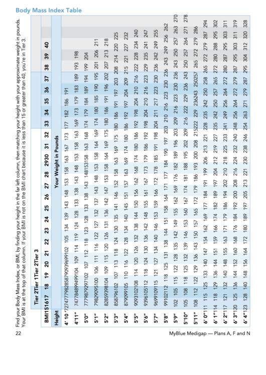 Body Mass Index Table - Blue Printable pdf