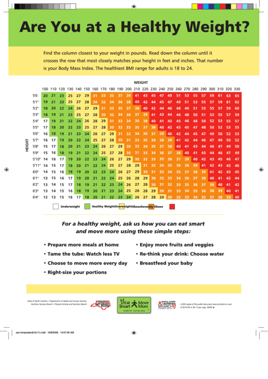 Adult Bmi Chart Printable pdf