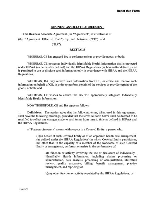 Fillable Business Associate Agreement Printable pdf