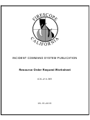 Incident Command System Publication Resource Order Request Worksheet