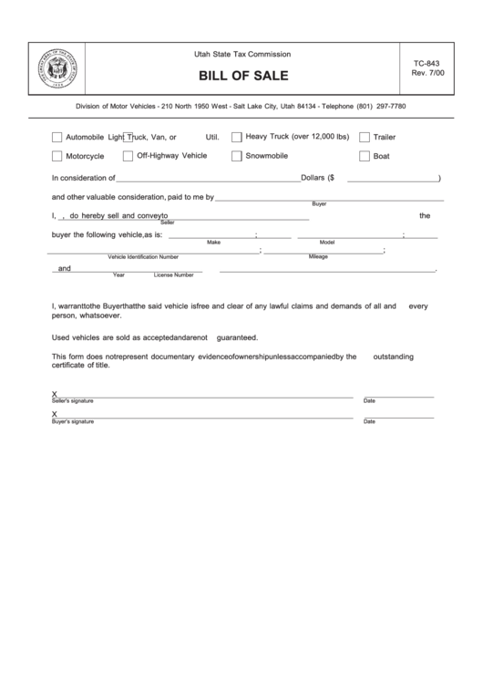 fillable tc-843 - bill of sale template