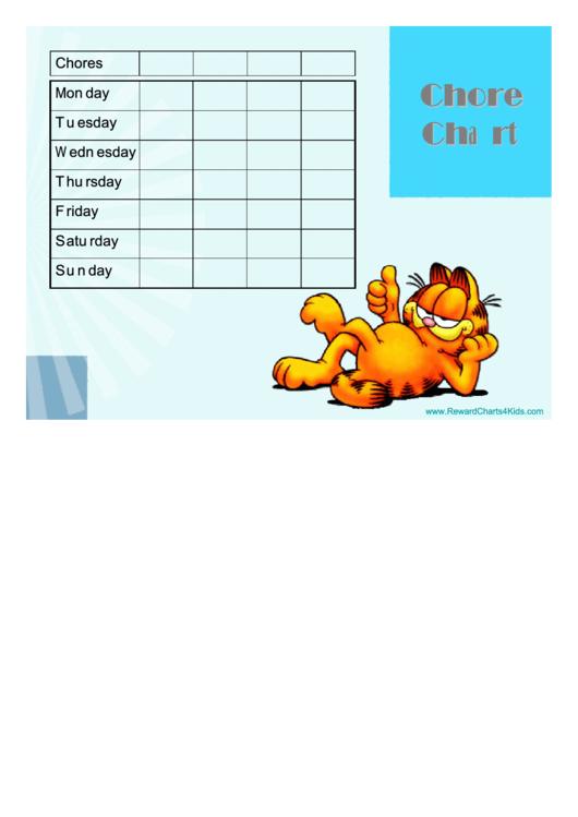 Garfield Weekly Chore Chart For Kids