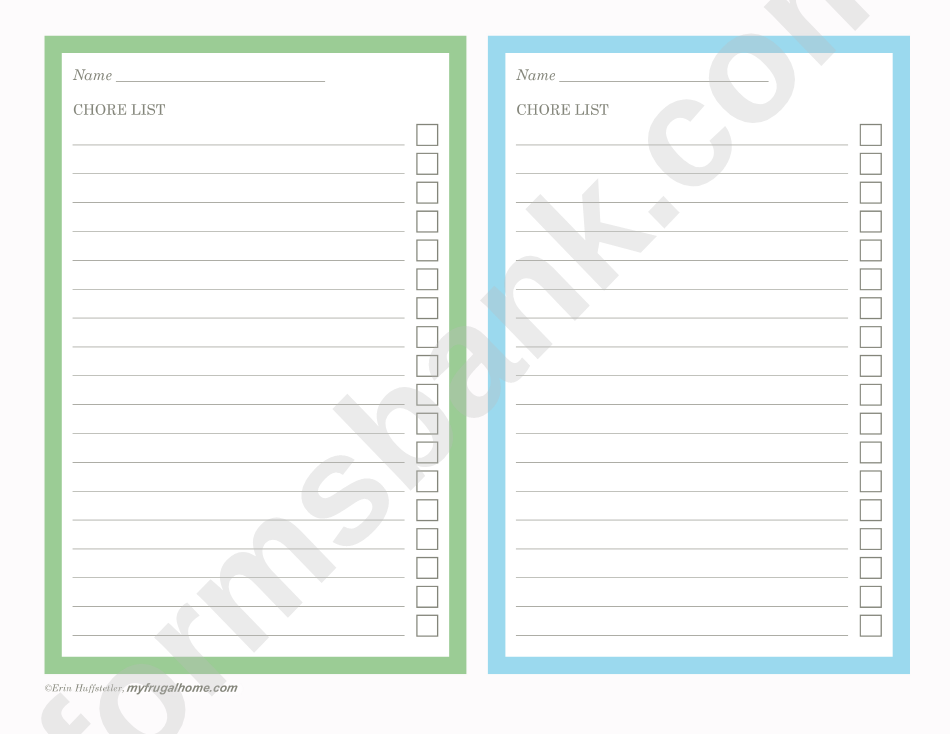 Chore List Template - Two Per Page