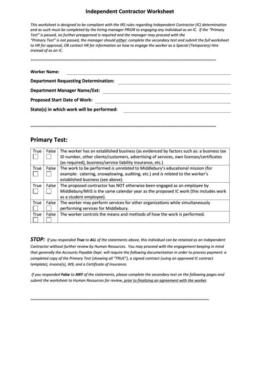 Independent Contractor Worksheet Printable Pdf Download