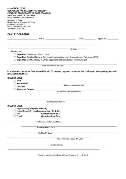 Form Bca 15.15 - Request Form For Certificates Of Good Standing And ...