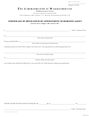 Certificate Of Revocation Of Appointment Of Resident Agent Form - The Commonwealth Of Massachusetts