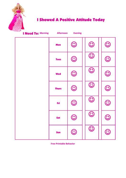 Fillable I Showed A Positive Attitude Today Printable pdf