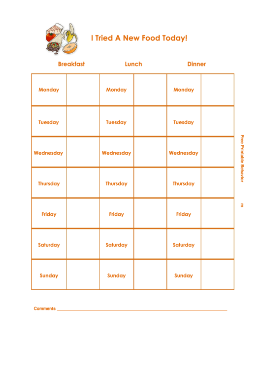I Tried A New Food Today! Responsibility Chart Printable pdf