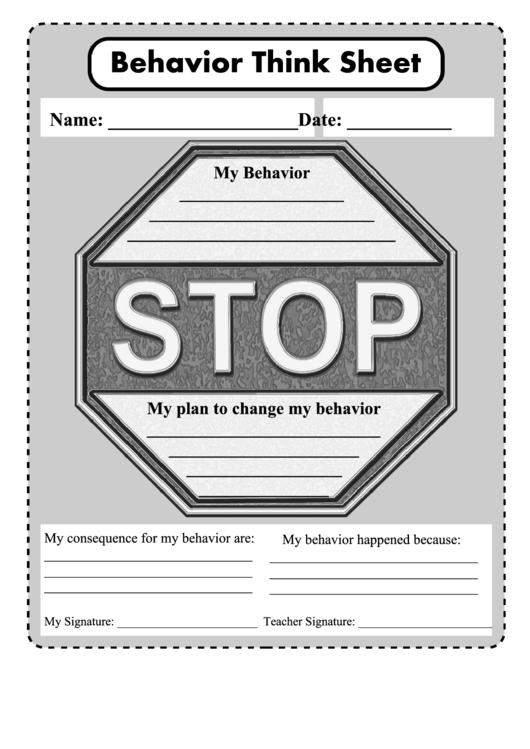 Behavior Think Sheet Printable Pdf Download