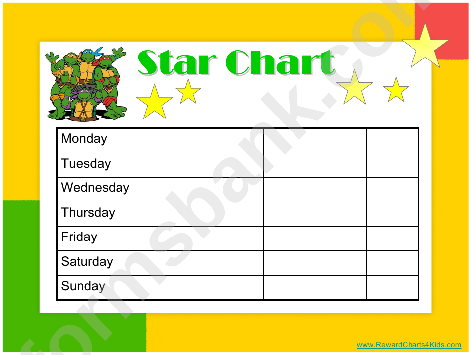 star of the week poster template - star reward chart teenage mutant ninja turtles printable