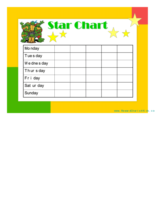Star Reward Chart Teenage Mutant Ninja Turtles Printable