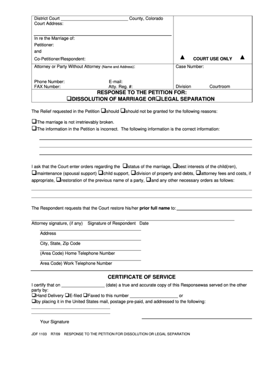 Fillable Form Jdf 1103 - Response To The Petition For Dissolution Of Marriage Or Legal Separation Form Printable pdf