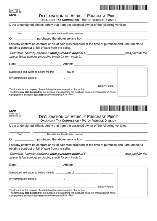 Fillable declaration of vehicle purchase price printable for Oklahoma tax commission motor vehicle division phone number