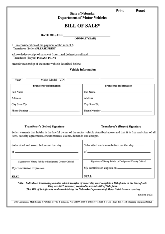 fillable motor vehicle bill of sale template