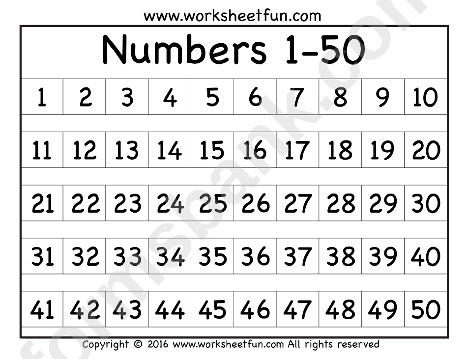 Bewitching image pertaining to free printable numbers 1-50