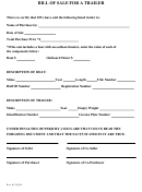 Bill Of Sale Template For A Trailer