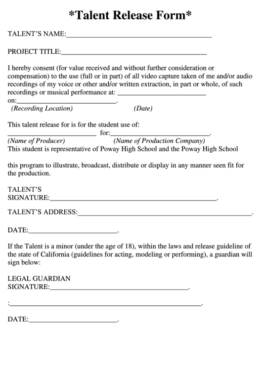 Talent Release Form Printable pdf