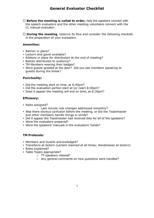 general evaluator checklist printable pdf download