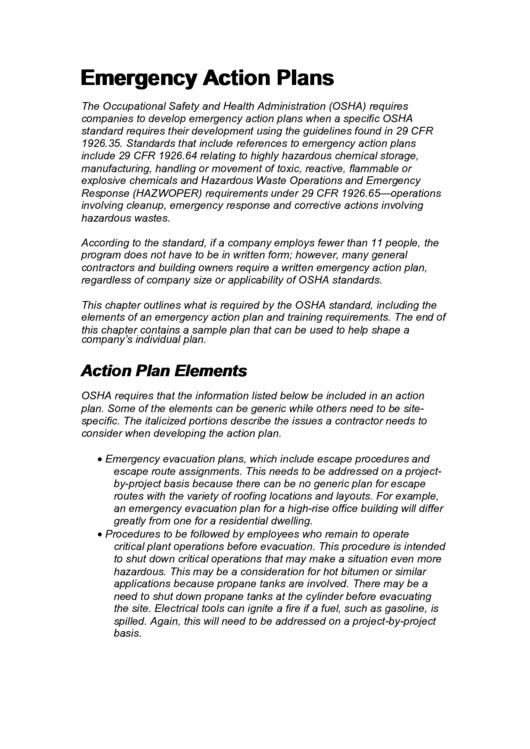 Emergency Action Plans Printable pdf