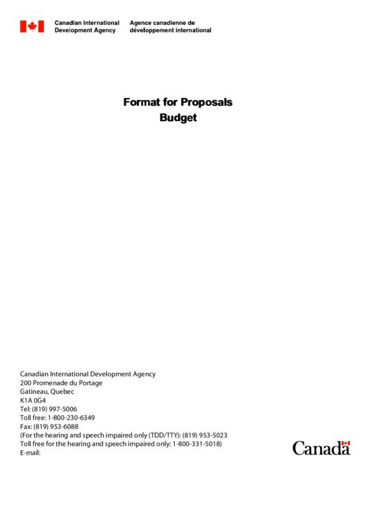 Format For Budget Proposals Printable pdf