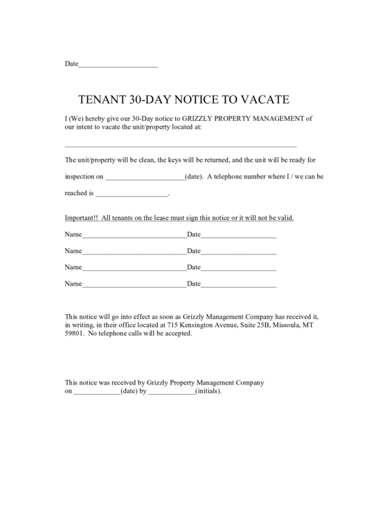 Tenant 30-day Notice To Vacate