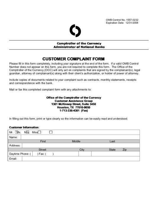 Customer Complaint Form