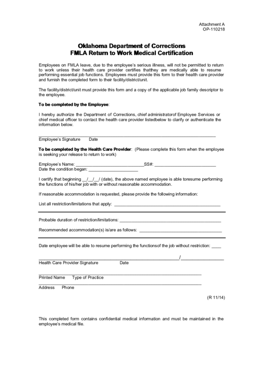 Oklahoma Department Of Corrections Fmla Return To Work Medical Certification Form