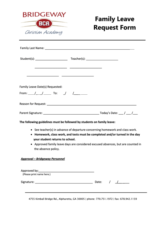 Bridgeway Christian Academy Family Leave Request Form
