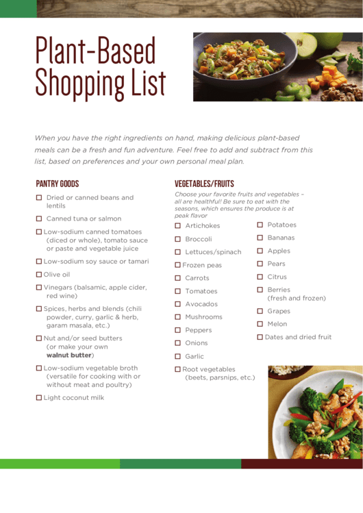 Plant-Based Shopping List Template printable pdf download