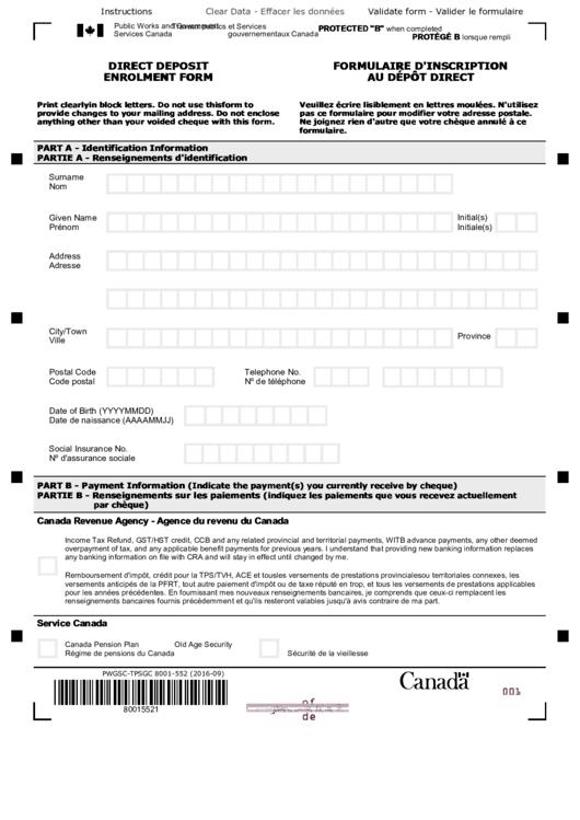 Direct Deposit Enrolment Form