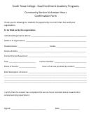 Community Service-volunteer Hours Confirmation Form