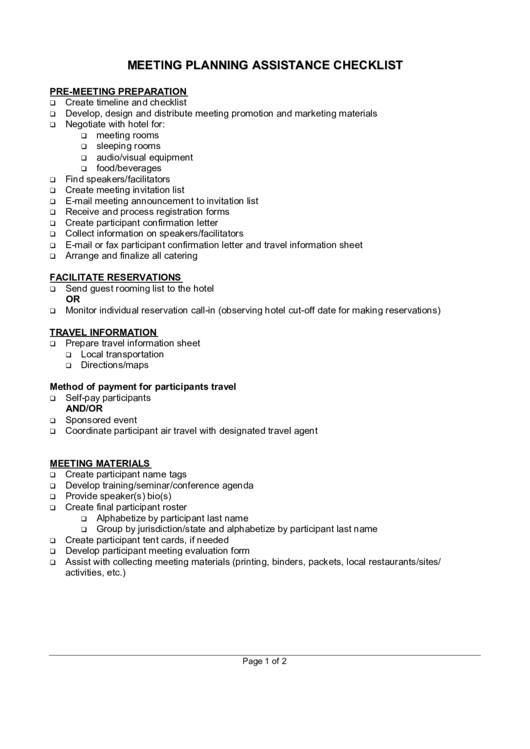 Meeting Planning Assistance Checklist printable pdf download