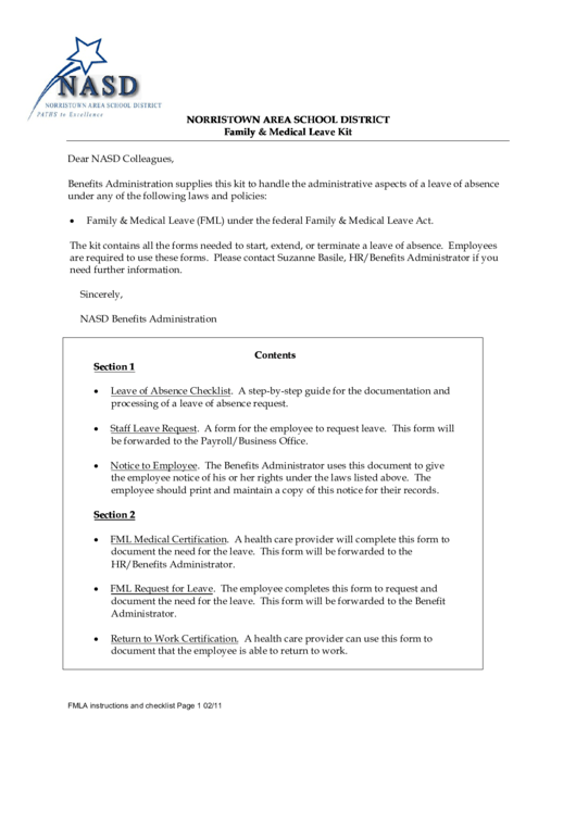 Norristown Area School District Family & Medical Leave Forms Kit Printable pdf