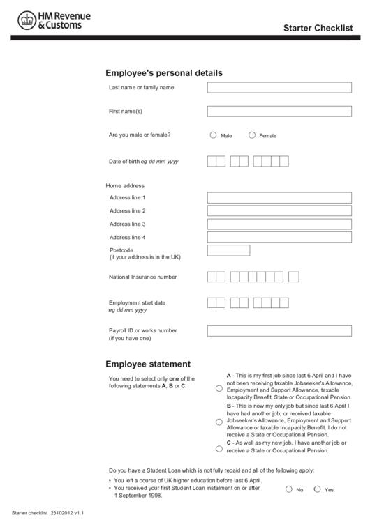 Starter Checklist - Employee's Personal Details