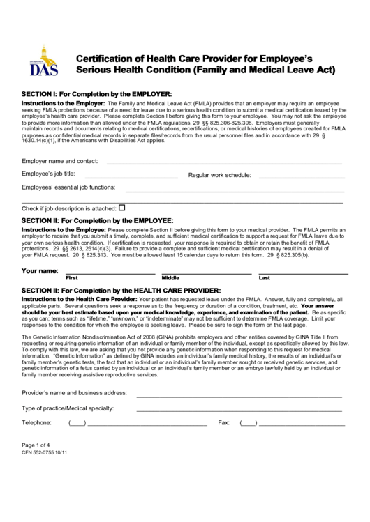 Fillable Form Cfn 552 0755 Certification Of Health Care Provider