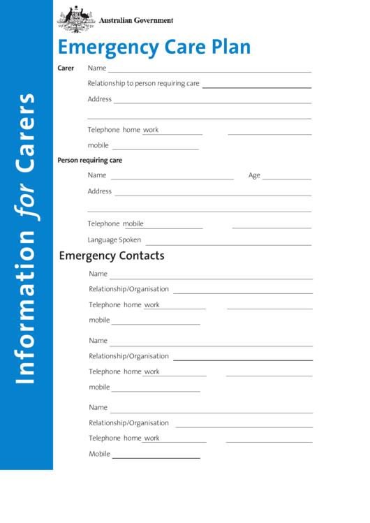 Emergency Care Plan Template printable pdf download