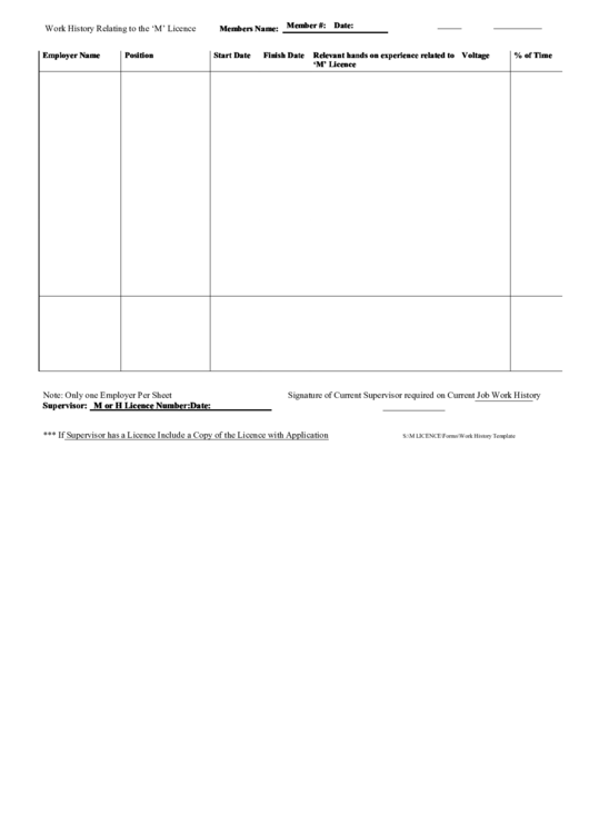 top 9 work history form templates free to download in pdf format