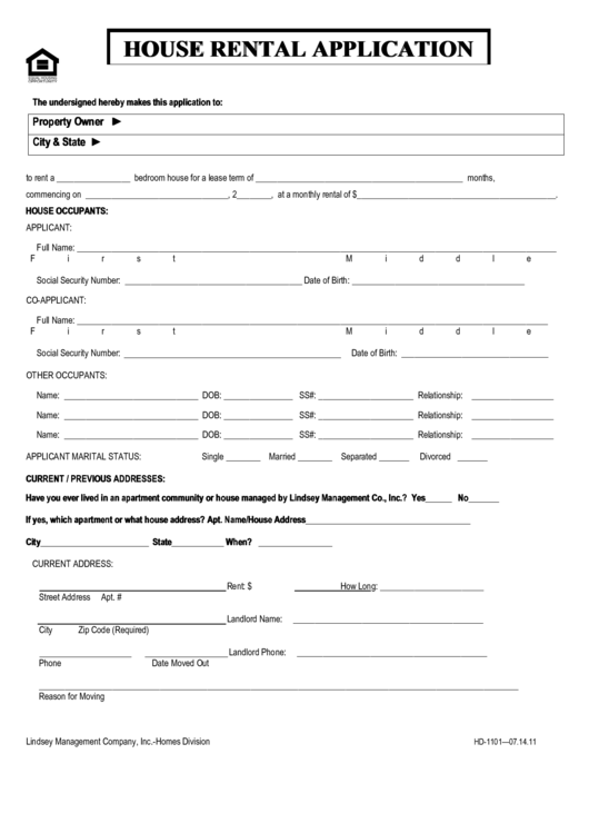 house rental application form printable pdf download