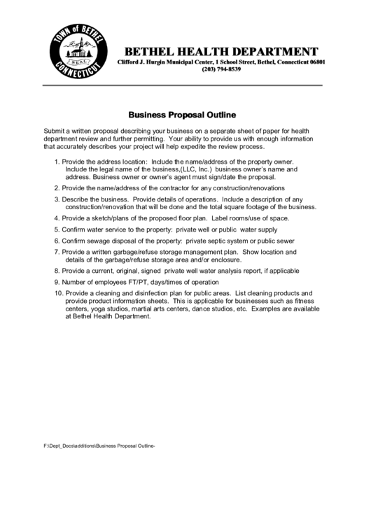 Business Proposa Outline Template